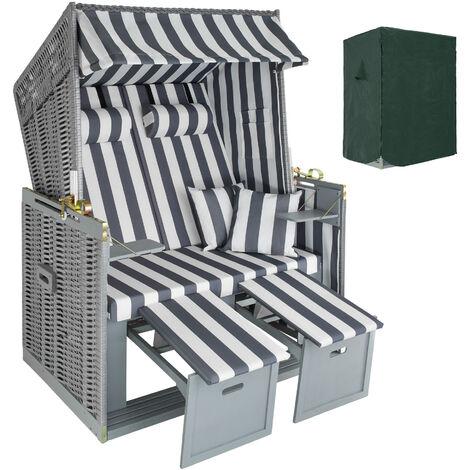 Beach chair with cushion, variant 2 - sun chair, folding beach chair, beach lounger