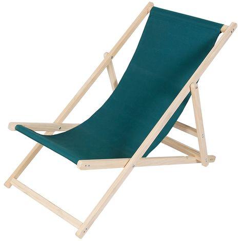 Beach chair wood deckchair garden lounger sun lounger beach chair - foldable - green