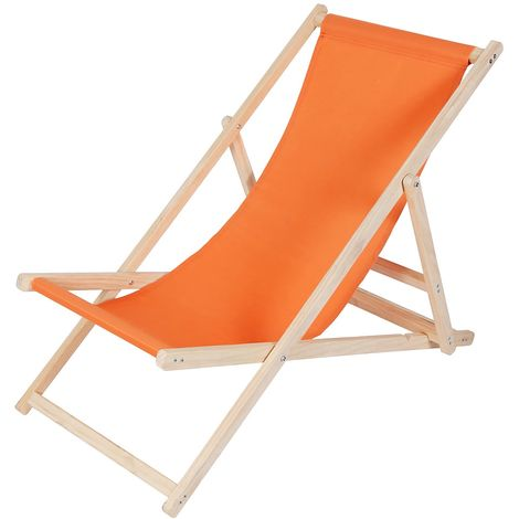 Beach chair wood deckchair garden lounger sun lounger beach chair - folding - Orange
