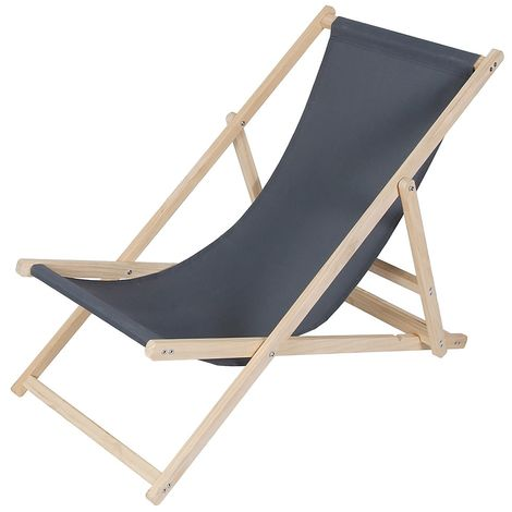 beach couch wood deckchair garden couch sun lounger beach chair - foldable - anthracite