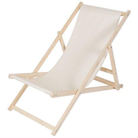 beach couch wood deckchair garden couch sun lounger beach chair - foldable - Beige