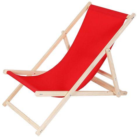 beach couch wood deckchair garden couch sun lounger beach chair - foldable - red