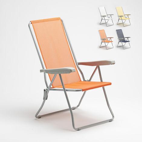 Beach garden deck chair with EASY steel armrests | Orange
