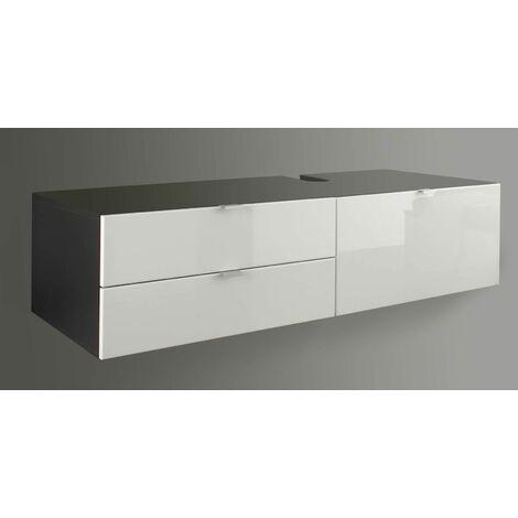 BEACH - Meuble salle de bain mélaminé. Meuble sous vasque. L - H - P : 140 - 35 - 53 cm - Blanc/Gris