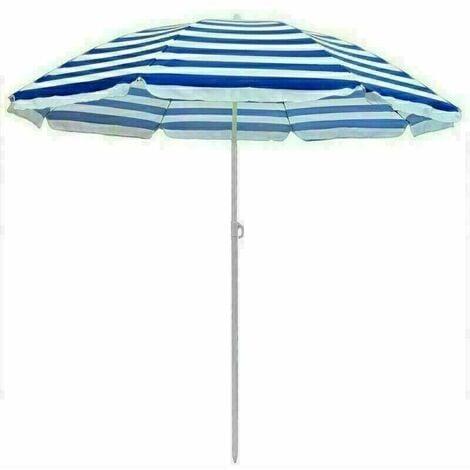 Beach Parasol Garden Outdoor Patio Sun Shade Tilting Umbrella 160cm Blue-White