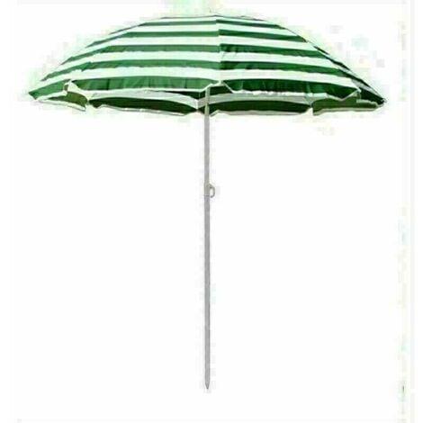 Beach Parasol Garden Outdoor Patio Sun Shade Tilting Umbrella 160cm Green-White
