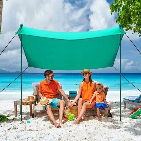 Beach Sunshade Portable Sun Shade Canopy Waterproof Tent UPF50+ UV 4 Sandbags