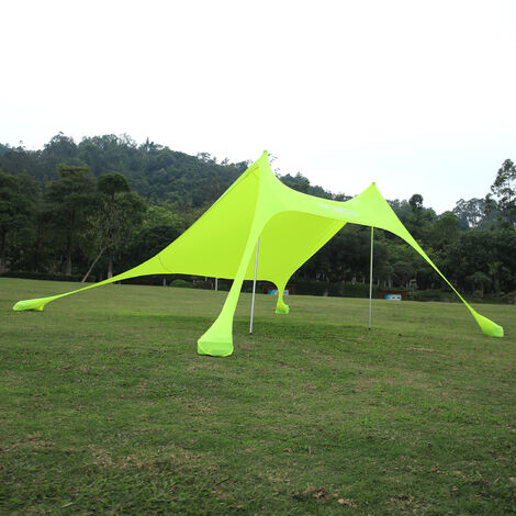 Beach Sunshade Tent Canopy with Sand Anchor Shelter Camping Outdoor Protection , Yellow