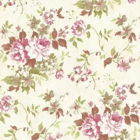 Beacon House by Brewster Rosemore Eloise Green Floral Wallpaper Purple Plum