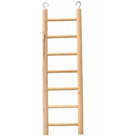 Beaks Wooden Budgie 7 Step Toy Ladder (12 inch) (Beige)