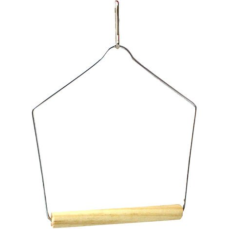 Beaks Wooden Budgie Swing (13 x 9.5cm) (Silver/Beige)