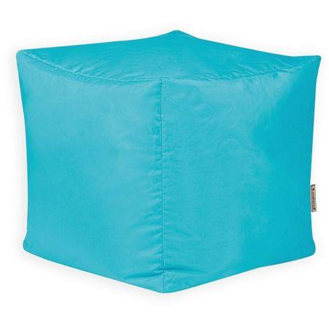 Bean Bag Bazaar Pouf Cube, Tabouret - Turquoise, Grand, 38cm x 38cm, Résistant à l'eau, Poufs d'intérieur et d'extérieur - Bleu Turquoise