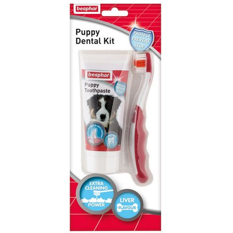 Beaphar Puppy Dental Kit With Toothbrush And Liquid Toothpaste (50g) (May Vary)