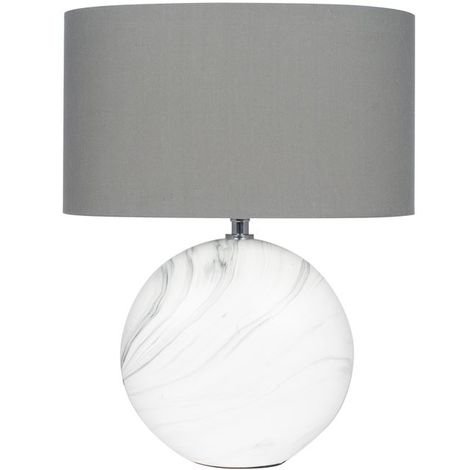 Marble Effect Table Lamp Light Grey