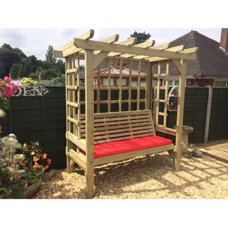 """main image of """"Beatrice Arbour - Sits 3, wooden garden bench with trellis"""""""