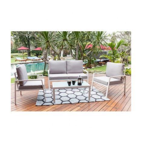 BEAU RIVAGE Salon de jardin 4 places avec banquette et fauteuil ...