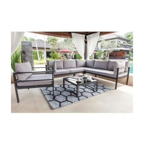BEAU RIVAGE Salon de jardin-table basse avec canape dangle et 2 fauteuils 2  places Mojito - Gris