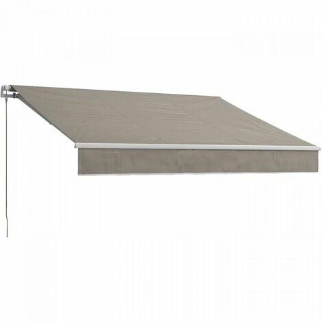 BEAURIVAGE Store banne manuel 4 x 3 m sans coffre - toile taupe avec structure blanche