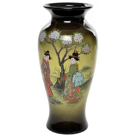 Beautiful 11'' Home Décor Glass Vase With Geisha Print, Set of 2
