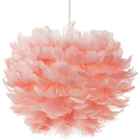 Beautiful and Contemporary Real Pink Goose Feather Decorated Pendant Light Shade by Happy Homewares