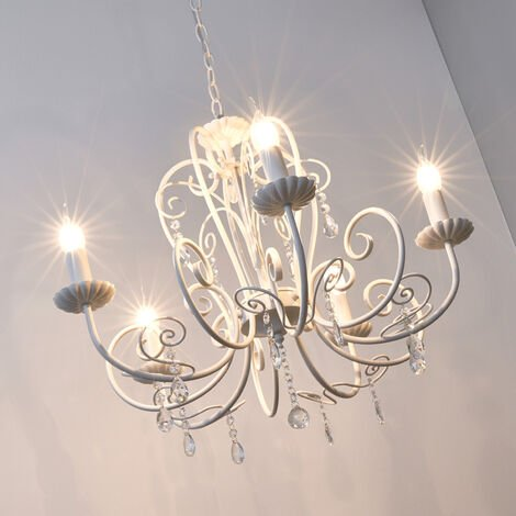 Beautiful chandelier Sophina with crystals, white