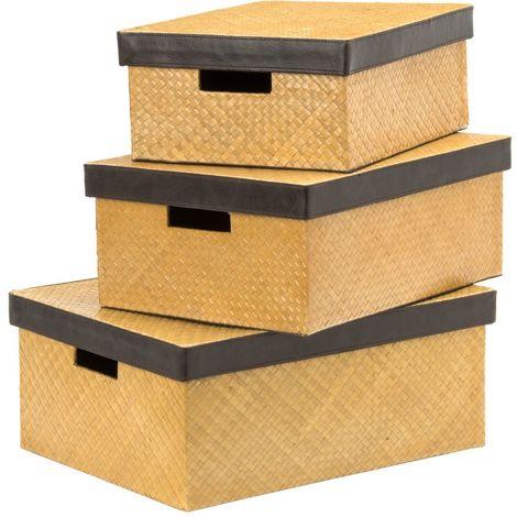 Beautiful pandanus set of 3 storage boxes,natural,with lids