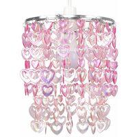 Beautiful Pretty Pink Acrylic Love Heart Beads Ceiling Pendant Children's Light Shade