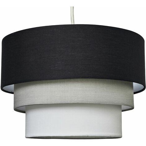 Beautiful Round 3 Tier Black Grey White Fabric Ceiling Pendant Lamp Light Shade