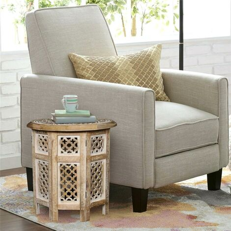 Beautiful Round Brown White Hand Carved Indian Shesham Wooden Coffee Table Side