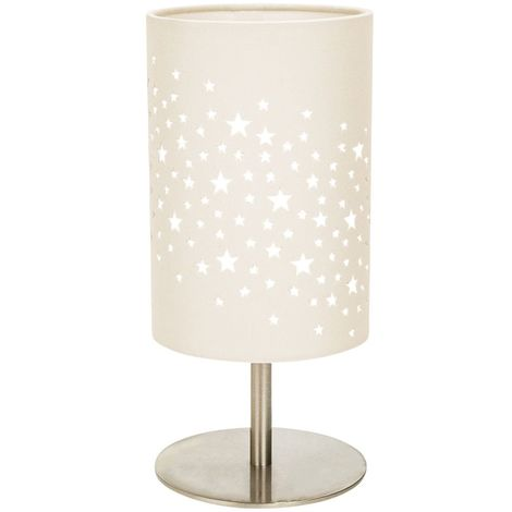 Beautiful Stars Decorated Children/Kids Soft Cream Cotton Bedside Table Lamp by Happy Homewares