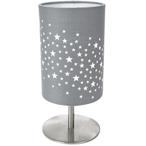 Beautiful Stars Decorated Children/Kids Soft Grey Cotton Bedside Table Lamp by Happy Homewares