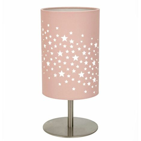 Beautiful Stars Decorated Children/Kids Soft Pink Cotton Bedside Table Lamp by Happy Homewares