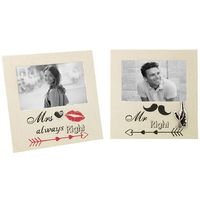 Beautifully Designed and Novelty Mr Right & Mrs Always Right Picture Frame Set by Happy Homewares