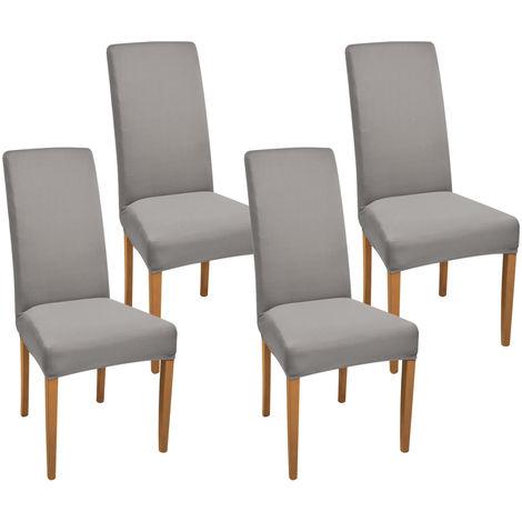 Beautissu Lot de 4 Housse de chaise stretch Leona