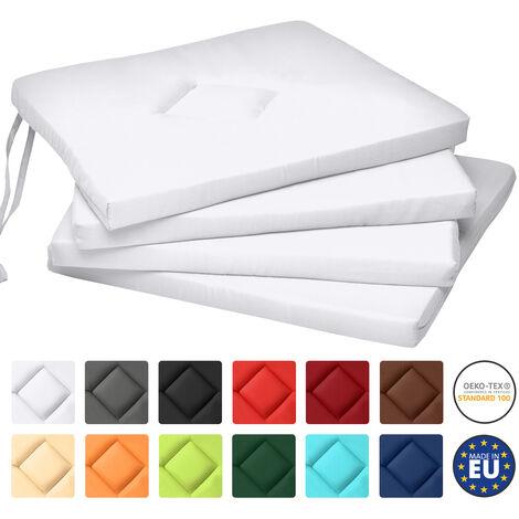 Beautissu Set de 4 Cojines para sillas Kim - Juego de Cojines cómodos y Decorativos Blanco