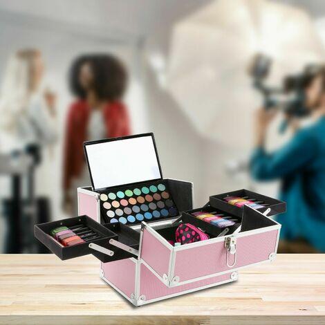 Beauty Case Vanity Case Make Up-Cosmetic/Salon/Nail Art Vanity Box Case Pink