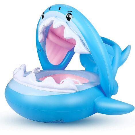 Bébé Siège De Piscine Requin Bague De Natation Flottante, Bouée Piscine Gonflable pour Enfants avec Réglable Auvent Gonflable pour Bébé de 6-36 Mois