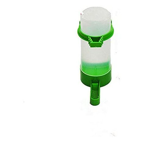 Bebedero de jaula para pájaros LITZEE - Comedero para pájaros / Bebedero automático Jaula de plástico para alimentador de agua de semillas de loro (140 ml)