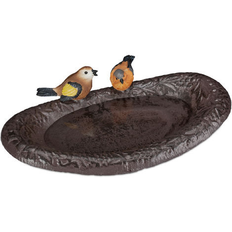 Bebedero Pájaros con Aves Decorativas, Hierro fundido-Poliresina, Marrón, 24 cm de ancho