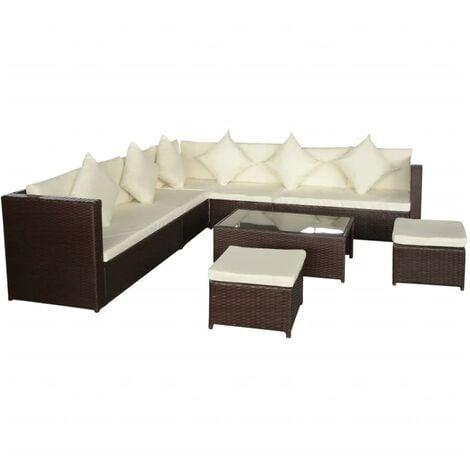 Bechtel 10 Seater Rattan Corner Sofa Set by Dakota Fields - Brown