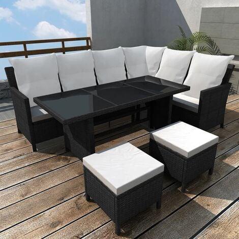 Beckley 8 Seater Rattan Corner Sofa Set by Dakota Fields - Black