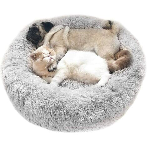 Bed For Plush Plush Round Gray Light Shopping Cart Round Nest of Companion Animal Nest Plush Thick For Cats And Dogs For Deep Sleep