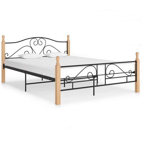 Bed Frame Black Metal 140x200 cm
