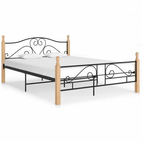 Bed Frame Black Metal 160x200 cm