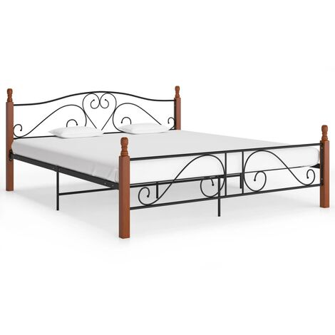 Bed Frame Black Metal 180x200 cm