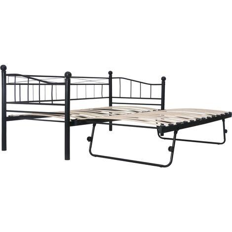 Bed Frame Black Steel 180x200/90x200 cm