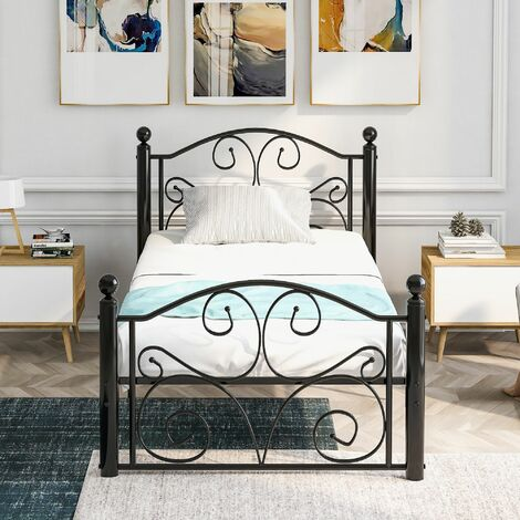 Bed Frame Metal Solid 3ft with Headboard &Footboard