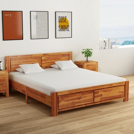 Bed Frame Solid Acacia Wood 180x200 cm - Brown