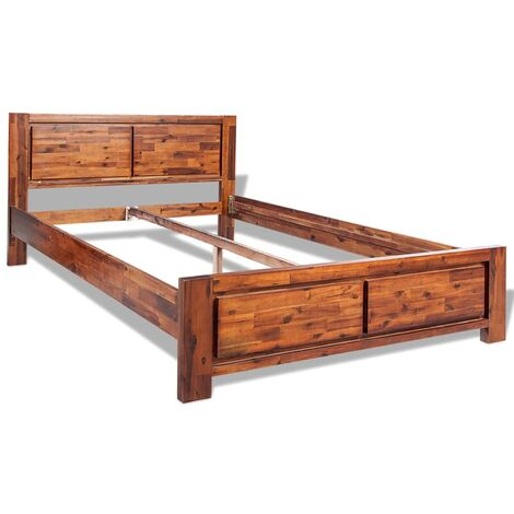 Bed Frame Solid Acacia Wood Brown King Size