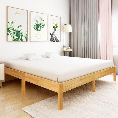 Bed Frame Solid Oak Wood 180x200 cm - Brown